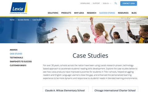 Screenshot of Case Studies Page lexialearning.com - Case Studies | See how Lexia products have improved student outcomes - captured Oct. 8, 2017