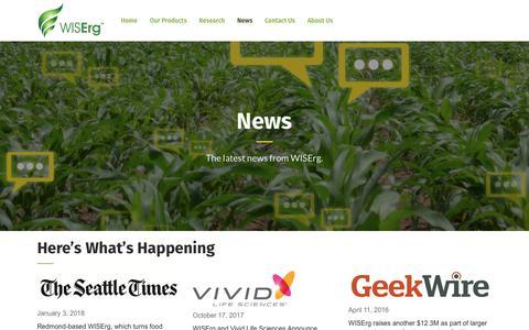 Screenshot of Press Page wiserg.com - News – WISErg - captured Dec. 22, 2019