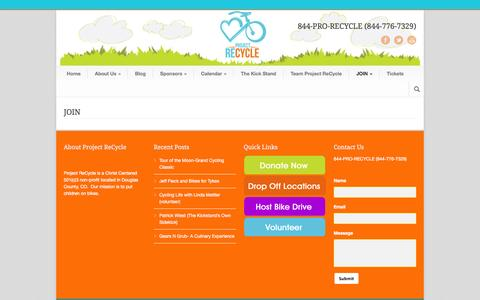 Screenshot of Signup Page projectrecycle.org - JOIN - Project ReCycle - captured Sept. 30, 2014