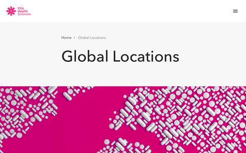 Screenshot of Locations Page prahs.com - Global Locations | PRA Health Sciences - captured Sept. 12, 2019