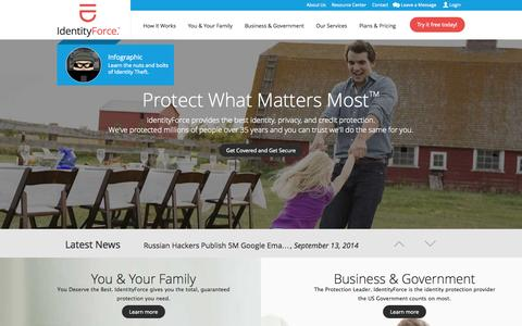 Screenshot of Home Page identityforce.com - Identity Theft Protection Provider & Solutions | IdentityForce - captured Sept. 23, 2014