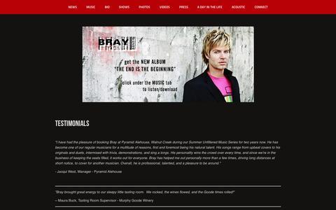 Screenshot of Testimonials Page braymusic.com - testimonials - Bray - captured Oct. 5, 2014