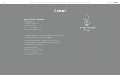 Screenshot of Contact Page accesstoseeds.org - Contact - Access to seeds - captured Dec. 1, 2016