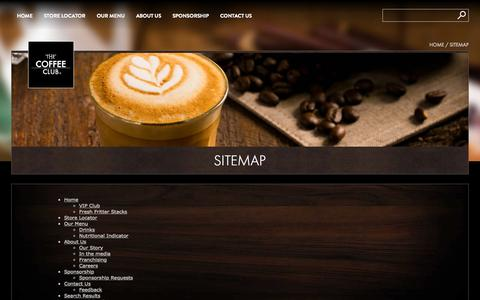 Screenshot of Site Map Page coffeeclub.com.au - Sitemap » The Coffee Club - captured Oct. 2, 2015