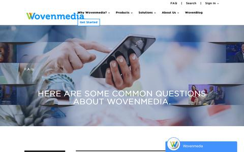 Screenshot of FAQ Page wovenmedia.com - Wovenmedia | Digital Signage Solutions | FAQs - captured May 2, 2019