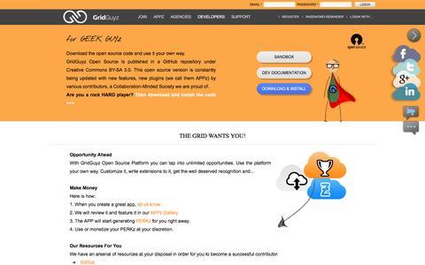 Screenshot of Developers Page gridguyz.com - Through GridGuyz web agencies will understand what a social CMS is » Opensource - captured Nov. 16, 2016
