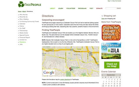 Screenshot of Maps & Directions Page treepeople.org - Directions   www.treepeople.org - captured Sept. 23, 2014