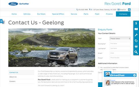 Screenshot of Hours Page rexgorellford.com.au - Contact Us - Rex Gorell Ford - captured Oct. 23, 2018