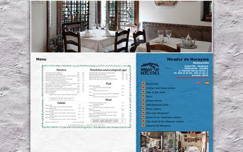 Screenshot of Menu Page miradordemorayma.com - Menu | Restaurante Mirador de Morayma - captured Oct. 6, 2014