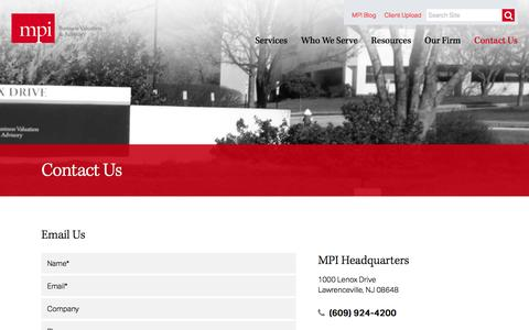 Screenshot of Contact Page mpival.com - MPI | Management Planning Inc. - captured Feb. 4, 2016