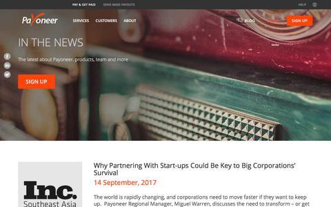 Screenshot of Press Page payoneer.com - In the News - PAYONEER - captured Nov. 17, 2017
