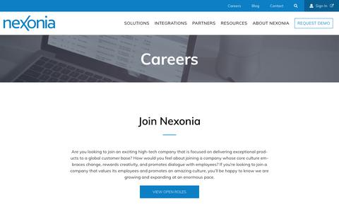 Screenshot of Jobs Page nexonia.com - Careers - Nexonia - captured June 11, 2018