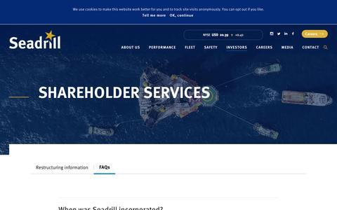 Screenshot of FAQ Page seadrill.com - Shareholder services – Seadrill - captured July 28, 2018