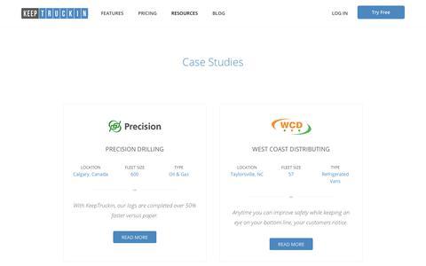 Screenshot of Case Studies Page keeptruckin.com - Fleet Management Case Studies - KeepTruckin - captured July 27, 2018
