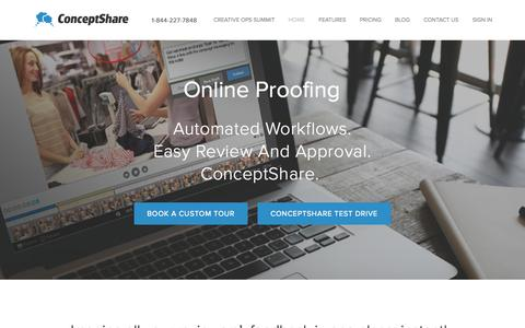Screenshot of Home Page conceptshare.com - Online Proofing, Review and Approval Workflow - captured Sept. 17, 2015