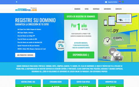 Screenshot of micromarca.com - Dominios, Sitios, Hospedaje y Servidores - MicroMarca.COM - captured Oct. 19, 2018