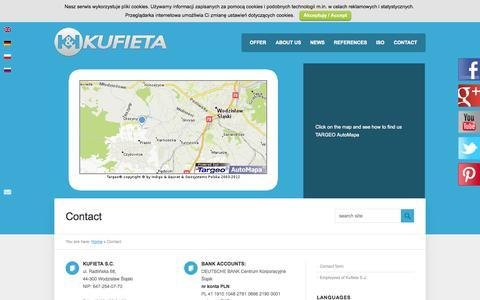 Screenshot of Contact Page kufieta.com - Contact - KUFIETA - captured Sept. 30, 2014