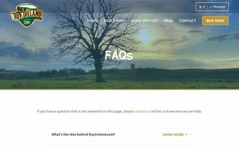 Screenshot of FAQ Page buyireland.com - Your Irish Gift Queries Answered | Buy Ireland - captured Nov. 23, 2016
