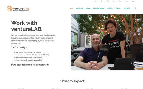 Screenshot of Signup Page venturelab.ca - Join ventureLAB Innovation Centre For Tech Entrepreneurs in Toronto, CA - captured Oct. 20, 2017