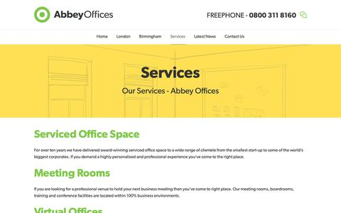 Screenshot of Services Page abbeyoffices.com - Our Services - Abbey Business Centres - captured Dec. 17, 2018