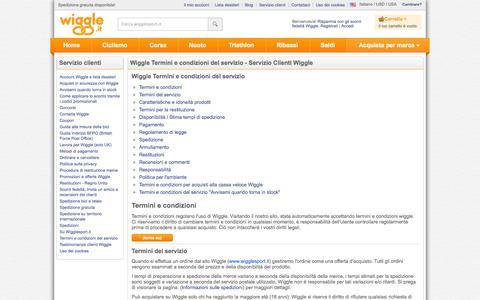 Screenshot of Terms Page wigglesport.it - Wiggle Servizio clienti - captured Nov. 4, 2014