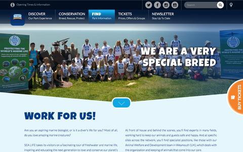 Screenshot of Jobs Page visitsealife.com - Work for SEA LIFE - Jobs & Vacancies at SEA LIFE Aquariums - captured Feb. 1, 2017
