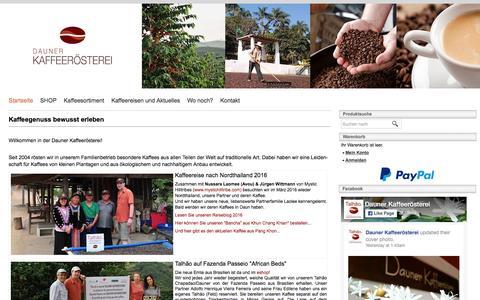Screenshot of Home Page dauner-kaffeeroesterei.de - Dauner Kaffeerösterei - Kaffeegenuss erleben! - captured June 8, 2016