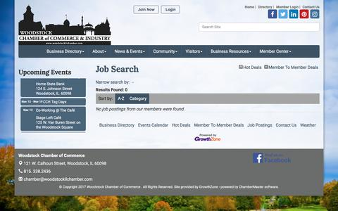 Screenshot of Jobs Page woodstockilchamber.com - Job Search - Woodstock Chamber of Commerce , IL - captured Nov. 5, 2017