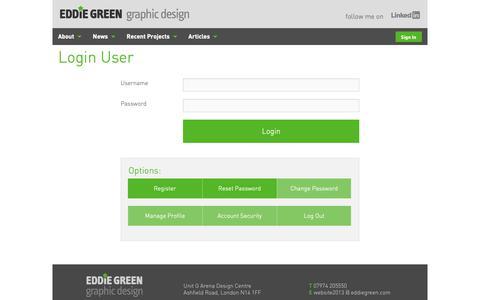 Screenshot of Login Page eddiegreen.com - Eddie Green - Login User - Eddie Green - captured Sept. 27, 2018