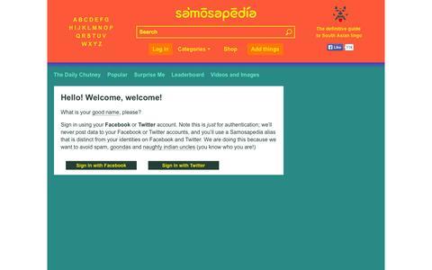 Screenshot of Login Page samosapedia.com - Samosapedia : The definitive guide to South Asian Lingo - captured Oct. 29, 2014