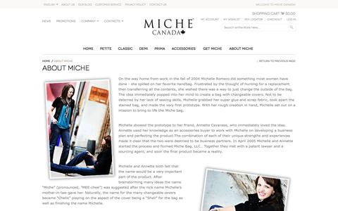 Screenshot of About Page michebag.ca - About Miche - captured Nov. 3, 2014
