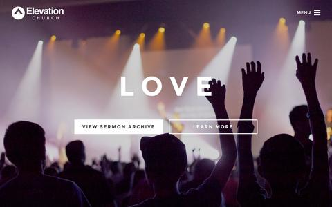 Screenshot of Home Page elevationchurch.org - Elevation Church - Get Involved, Watch Sermons, Online Church - captured Sept. 6, 2015