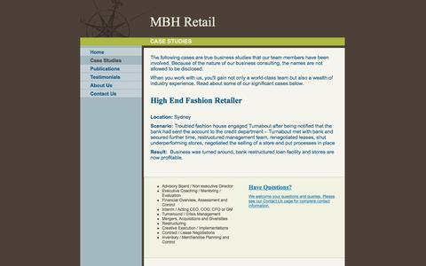 Screenshot of Case Studies Page mbhretail.com - MBH Retail - Case Studies - captured July 20, 2016