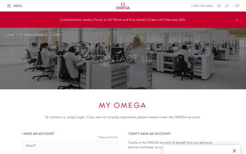 Screenshot of Contact Page omegawatches.com - Customer Login  | OMEGA US® - captured Feb. 8, 2020