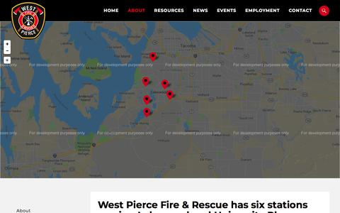 Screenshot of Locations Page westpierce.org - West Pierce Fire & Rescue has six stations serving Lakewood and University Place - West Pierce Fire & Rescue - West Pierce Fire & Rescue - captured Sept. 25, 2018
