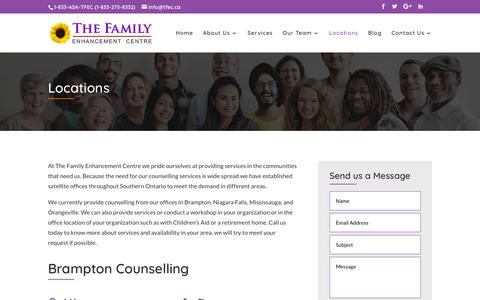 Screenshot of Locations Page tfec.ca - Locations | The Family Enhancement Centre - captured Oct. 18, 2018