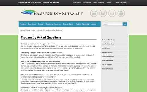 Screenshot of FAQ Page gohrt.com - Frequently Asked Questions - Hampton Roads Transit - - captured Jan. 25, 2016