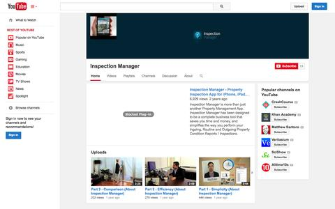 Screenshot of YouTube Page youtube.com - Inspection Manager  - YouTube - captured Oct. 29, 2014