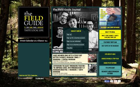 Screenshot of Home Page thefieldguide.ca - The Field Guide to British Columbia and Okanagan Travel | The Field Guide - captured Jan. 30, 2015