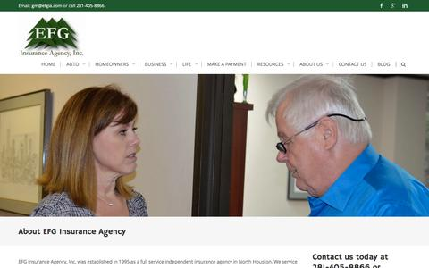 Screenshot of About Page efgia.com - About EFG Insurance Agency - EFG Insurance Agency - captured Oct. 10, 2016