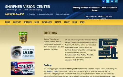 Screenshot of Maps & Directions Page shofnervisioncenter.com - Shofner Vision Center Affordable Lasik Nashville TN Directions - captured Sept. 25, 2014