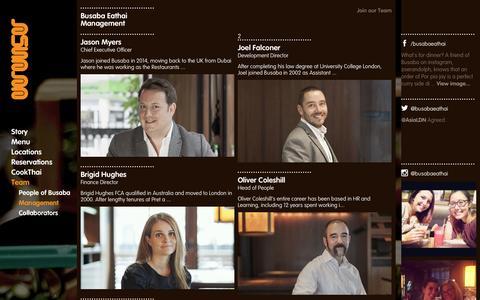 Screenshot of Team Page busaba.com - Busaba Eathai - Meet the Management team - captured Nov. 1, 2014