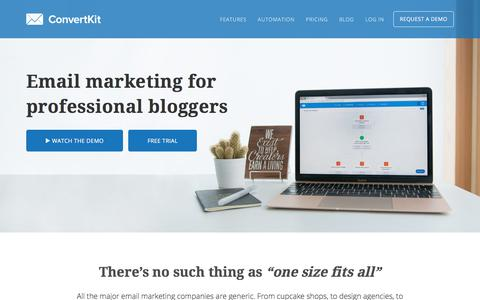 Screenshot of Home Page convertkit.com - ConvertKit | Email Marketing for Professional Bloggers - captured Oct. 11, 2017