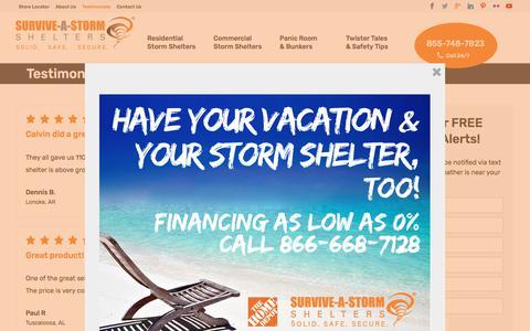 Screenshot of Testimonials Page survive-a-storm.com - Testimonials - Survive-a-Storm Shelters - captured Nov. 6, 2017
