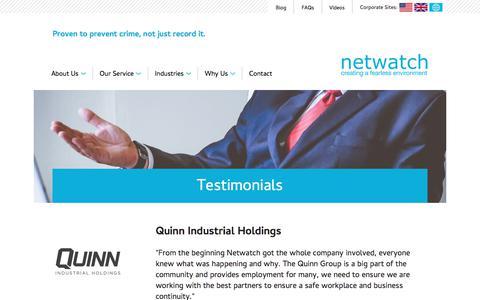 Screenshot of Testimonials Page netwatchsystem.com - Testimonials | Netwatch Ireland - captured June 12, 2017