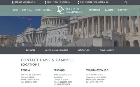Screenshot of Contact Page dcamplaw.com - Contact Davis & Campbell - Davis & Campbell - captured Oct. 7, 2018