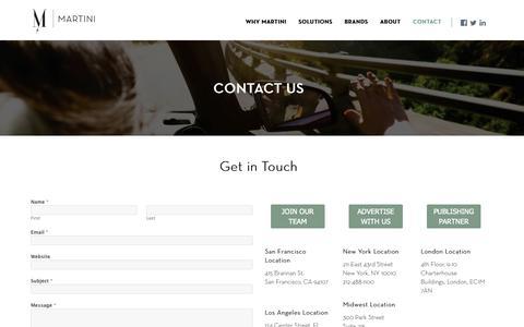 Screenshot of Contact Page martinimediainc.com - Contact - captured Oct. 27, 2014