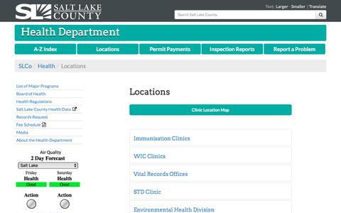 Screenshot of Locations Page slco.org - Locations - Salt Lake County Health Department | Salt Lake County - captured Feb. 16, 2018