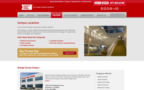 Screenshot of Locations Page americancareercollege.edu - Our Campuses | Colleges in California | ACC - captured Sept. 29, 2014