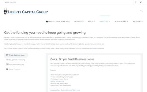 Screenshot of Products Page libertycapitalgroup.com - Small Business Loan, Equipment Financing, Credit Card Factoring - captured Nov. 7, 2016